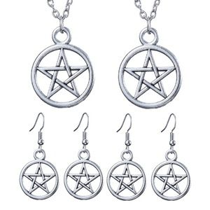 NEW 2-PACK PENTAGRAM STAR NECKLACE EARRING SETS